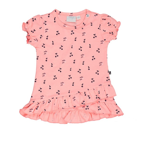 Roze Babykleding.Feetje Jurk Korte Mouw Cherry Sweet Roze Babykleding